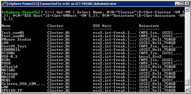 PowerCLI: One-Liner to get VMs, Clusters, ESX Hosts and
