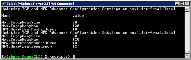 PowerCLI: Changing Advanced Configuration Settings for NFS