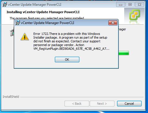 vCenter Update Manager PowerCLI: Error 1722 Windows
