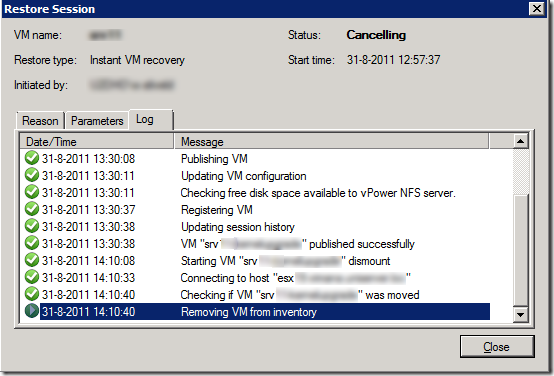 how to delete instant recovery