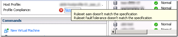 host profiles ruleset xxxx doesnt match specification
